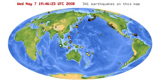 map of chile earthquake. that the map below showed