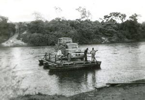 Jeep on barge