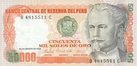 The history of money peru and its fiat currencies the market 50000 soles de oro banknote altavistaventures Image collections