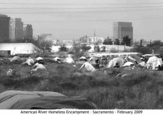 Tent City on Sacramento River