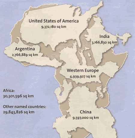 Size of Africa compared to countries