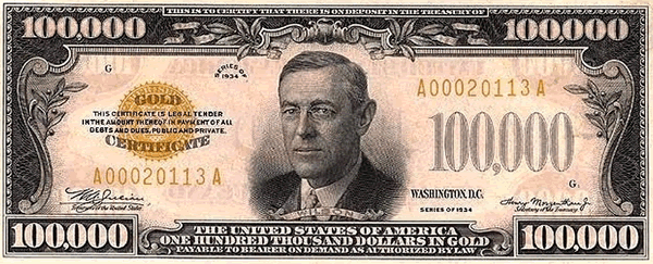US 100,000 Gold Certificate