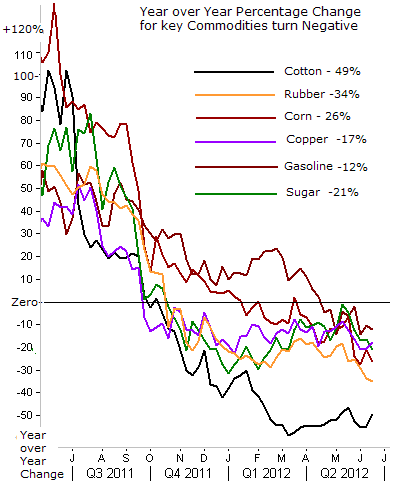 Year over Year % Change for key Commodities turn Negative