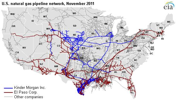 map of U.S. natural gas pipeline network, November 2011, as described in the article text