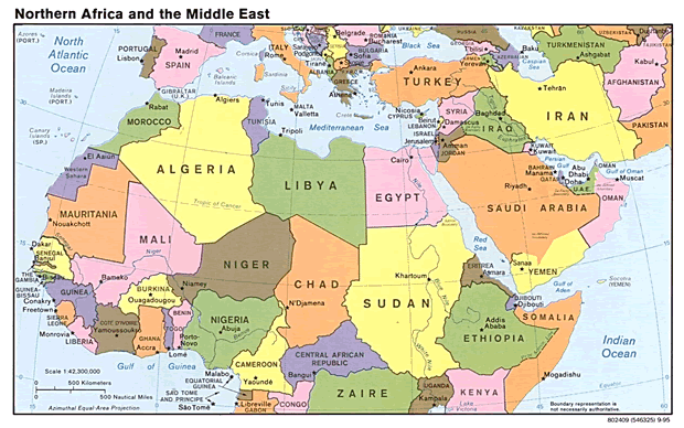 North Africa and The Middle East Map