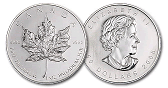 Canadian Palladium Maple Leaf 1 Troy Ounce Rounds