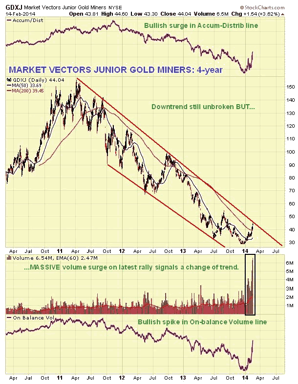 Market Vectors Junior Gold Miners 4-Year Chart