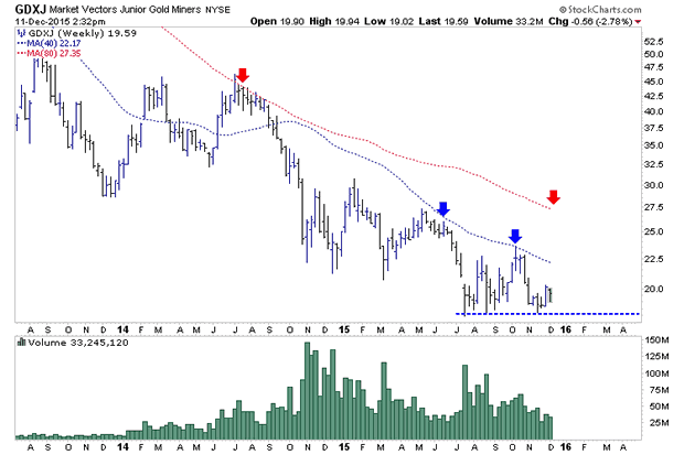 Market Vectors Junior Gold Miners Weekly Chart