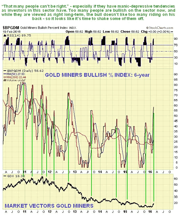 Gold Miners Bullish Percent Index Daily Chart