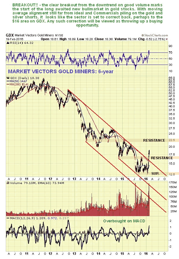 Market Vectors Gold Miners ETF 6-Year Chart