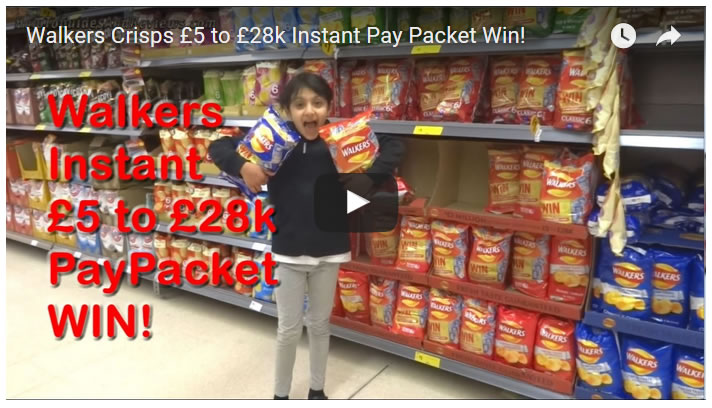 Walkers Crisps £5 to £28k Instant Pay Packet Win!