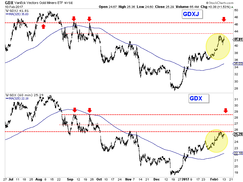 VanEck Vectors Gold Miners ETF and Junior Gold Miners ETF 60-Minute Chart