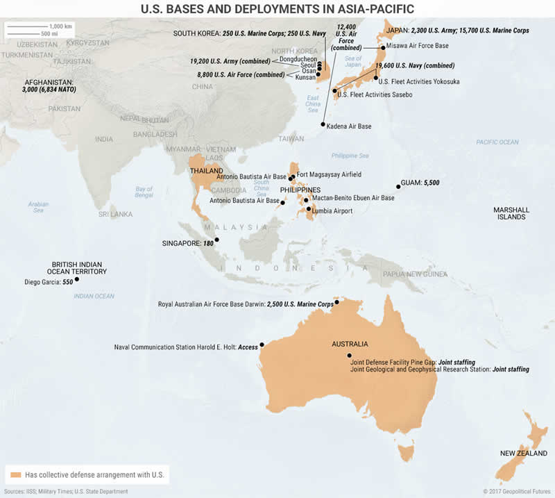 Maps that show the us strategy in asia pacific the market oracle us military commitments in asia pacific the map above shows gumiabroncs Image collections