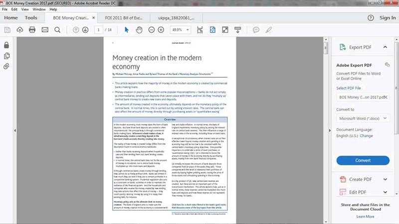 BOE Money creation front page original