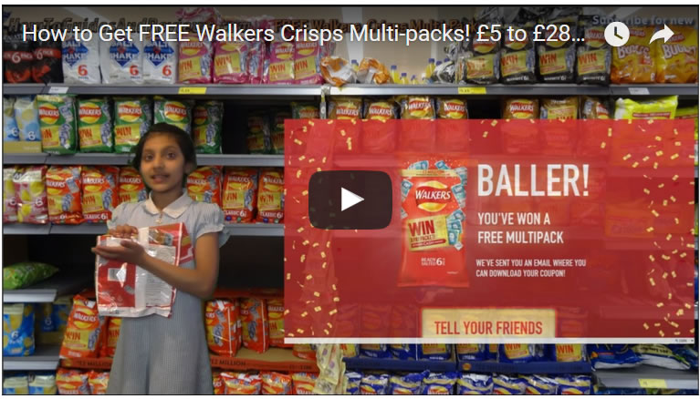 How to Get FREE Walkers Crisps Multi-packs! £5 to £28k Pay Packet Promo