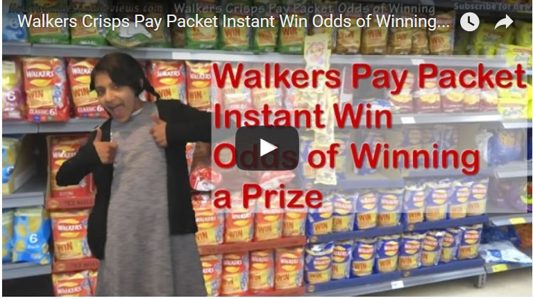 Walkers Crisps Pay Packet Instant Win Odds of Winning a Prize