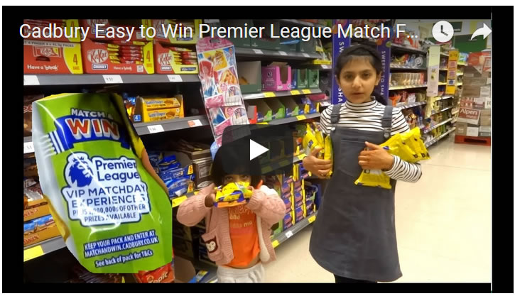 Cadbury Easy to Win Premier League Match Football Tickets and 1 Million Prizes!