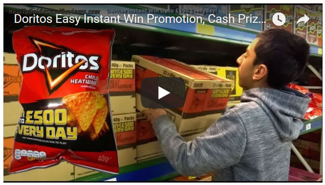 Doritos Easy Instant Win Promotion, Cash Prizes Upto £500 per Day