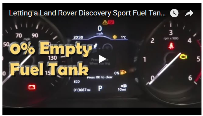 Letting a Land Rover Discovery Sport Fuel Tank Run to 0% Empty