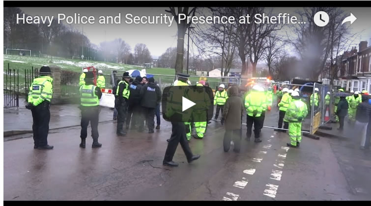 Heavy Police and Security Presence at Sheffield Street Tree Felling Protests 2018