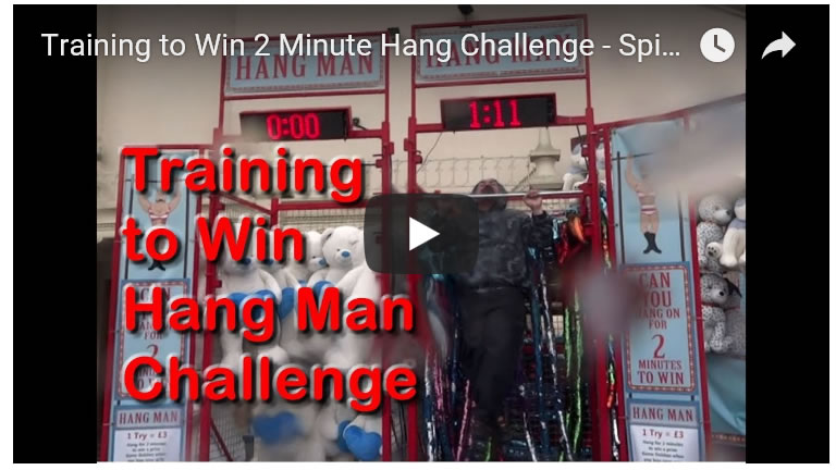 Training to Win 2 Minute Bar Hang Challenge - Spinning / Rotating Bar at Theme Parks