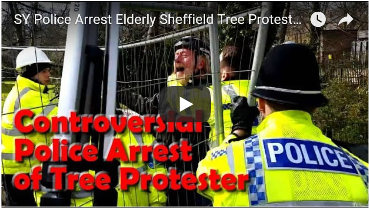 SY Police Arrest Elderly Sheffield Tree Protestor on Rivelin Valley Road