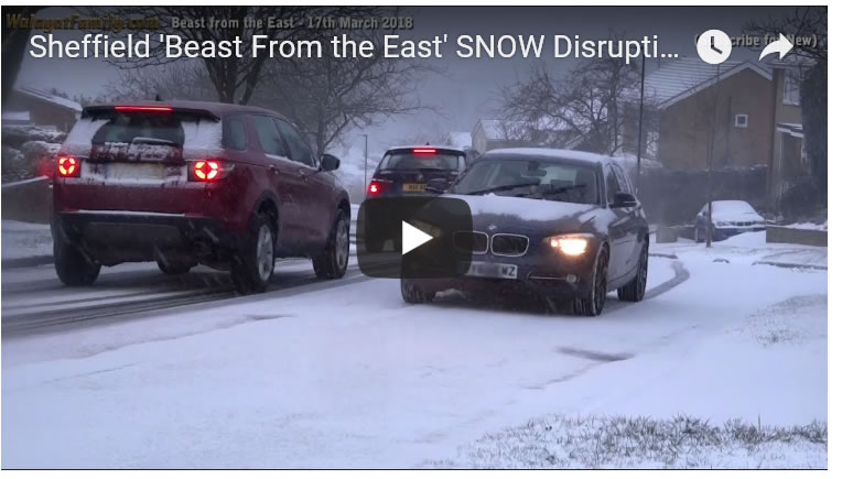 Sheffield 'Beast From the East' SNOW Disrupting Road Travel - 17th March 2018