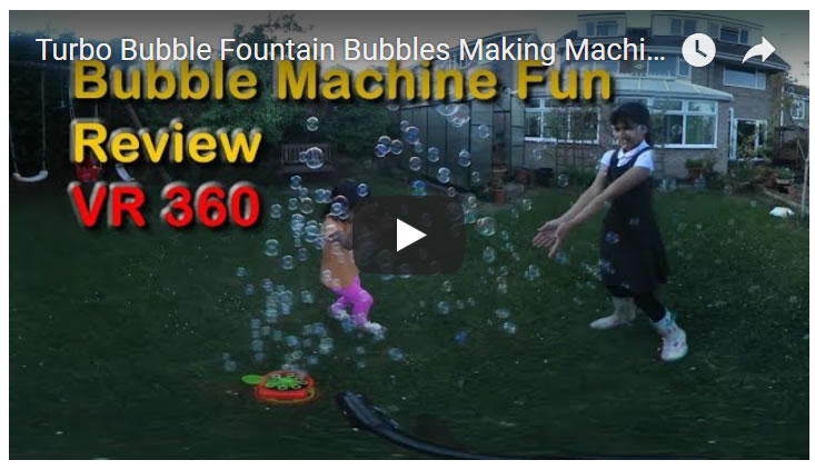 Turbo Bubble Fountain Bubbles Machine for Kids Summer Fun Activities - VR 360