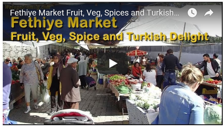 Fethiye Market Fruit, Veg, Spices and Turkish Delight Tourist Shopping