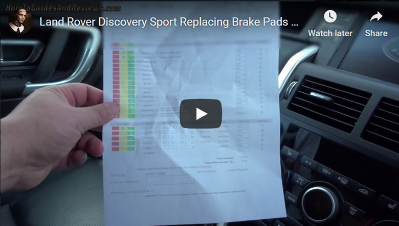 Land Rover Discovery Sport Replacing Brake Pads and Discs's, Dealer Check and Cost
