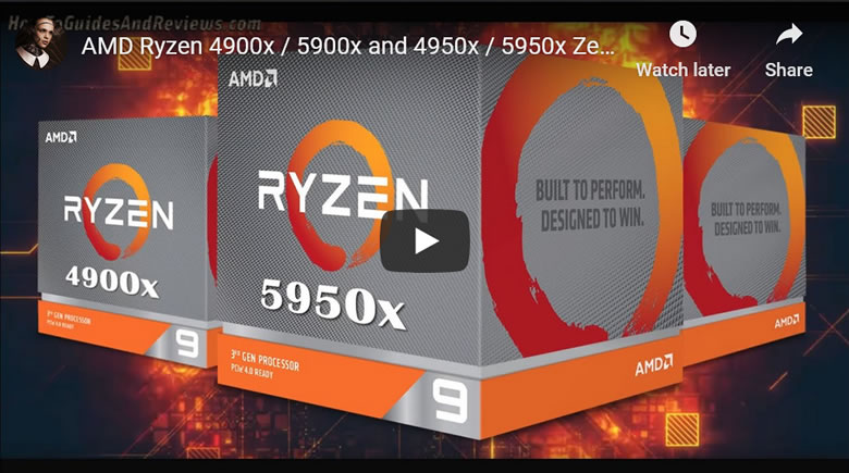 AMD Ryzen 4900x / 5900x and 4950x / 5950x Zen3 4th Gen IPC and Clock Speed and Core Specs
