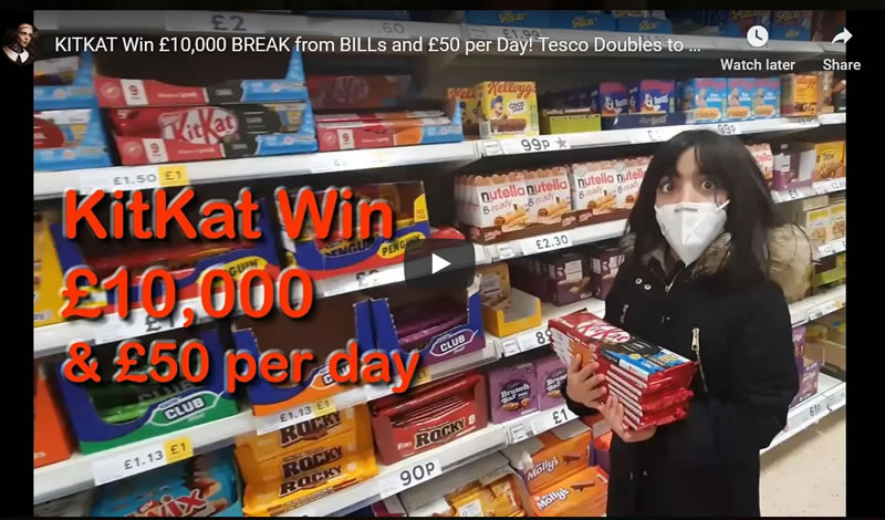 KITKAT Win £10,000 BREAK from BILLs and £50 per Day! Tesco Doubles to £100!