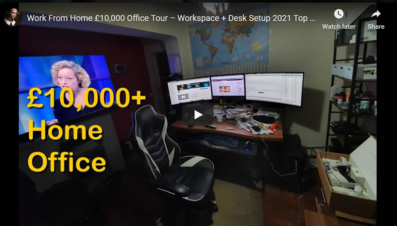 Work From Home £10,000 Office Tour – Workspace + Desk Setup 2021 Top Tips