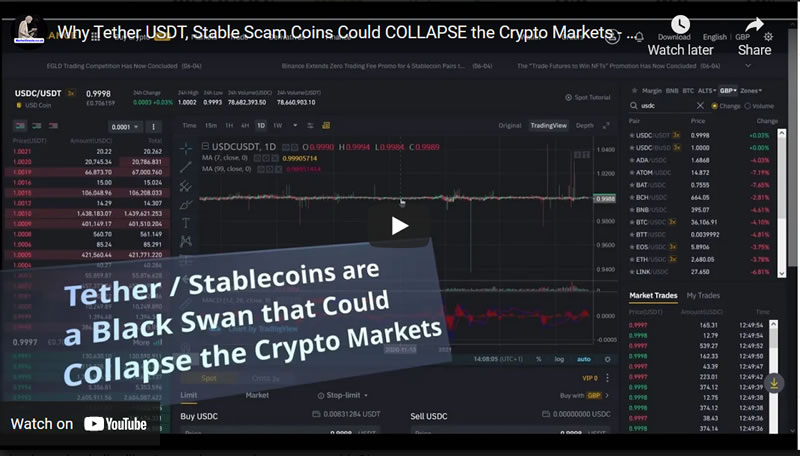 Why Tether USDT, Stable Scam Coins Could COLLAPSE the Crypto Markets - Black Swan 2021