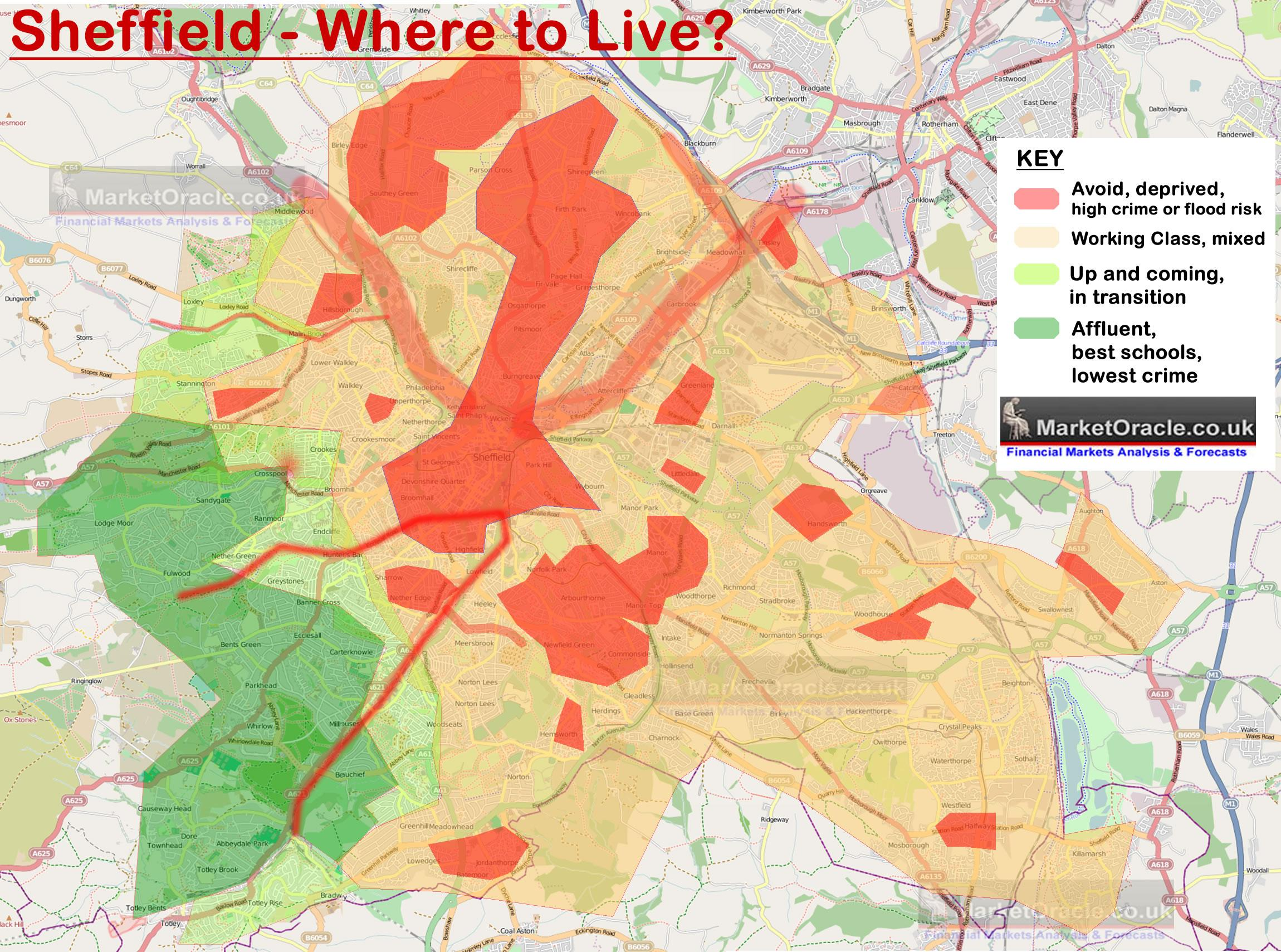 Sheffield Best and Worst Areas to Live House Buying Analysis Map