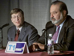 Carlos  Slim (right) has surpassed Bill Gates (left) and Warren Buffet as the world's  richest person.