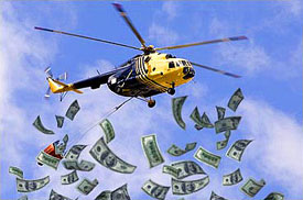 Helicopter Ben is dropping money from the sky. The problem is he can't control where it lands!