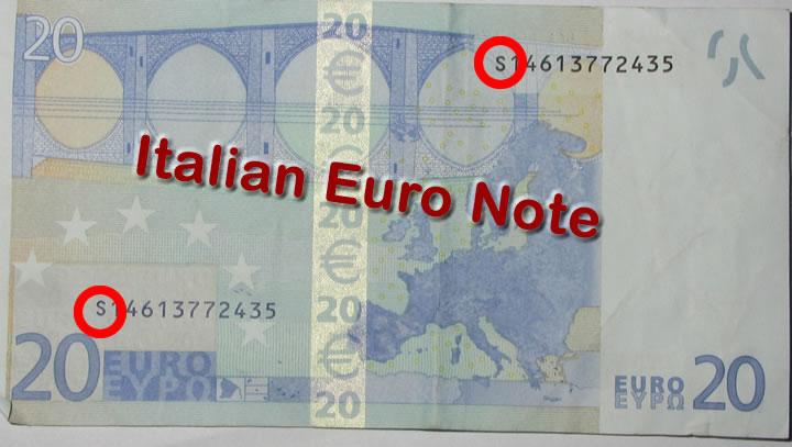 popierinis euro banknotes serial number