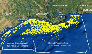 Thousands of oil platforms dot the Gulf of Mexico, and despite predictions of a 'moderate' hurricane season, the oil and gas industry continues to recover from last year's storms.