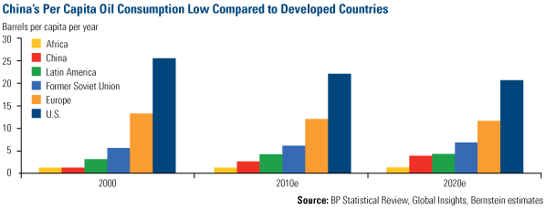 China's Per Capita Oil Consumption Low Compared to Developed Countries