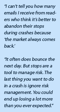 """I can't tell you how many emails I receive from readers who think it's better to abandon their stops during crashes because 'the market always comes back.'  ""It often does bounce the next day. But stops are a tool to manage risk. The last thing you want to do in a crash is ignore risk management. You could end up losing a lot more than you ever expected."""