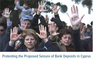 Protesting the proposed seizure of bank deposits in cyprus